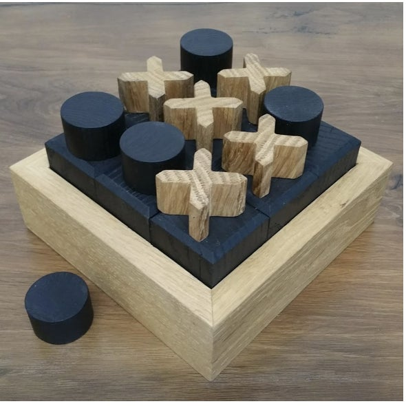 Benchmade by OZSHOP wood workers in Scottsdale, Arizona. Tic tac toe boards are made from antique French oak with ebonized...
