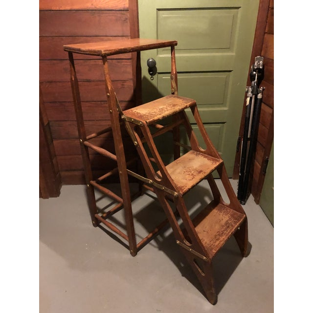 Early 20th Century American Metamorphic Library Ladder Steps For Sale - Image 13 of 13
