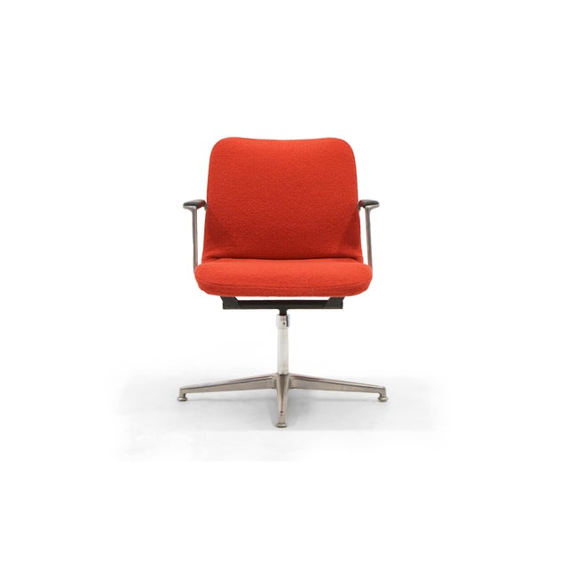 Red George Nelson Desk or Office Chair, Very Rare, New Red Boucle Knoll Upholstery For Sale - Image 8 of 8
