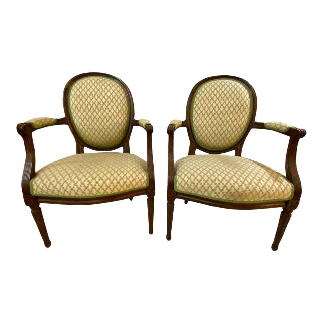 French Maison Jansen Bergeres or Armchairs in Walnut, Stamped Jansen - a Pair For Sale