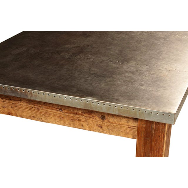 Farmhouse Zinc Top Wood Dining Table For Sale - Image 3 of 4