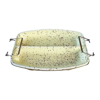Mid-Century Modern Ceramic Divided Dish in Brass Caddy For Sale