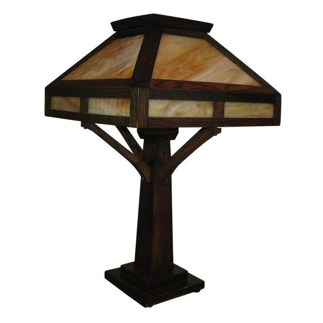 Vintage Antique Arts & Crafts Mission Oak Lamp - Image 1 of 7