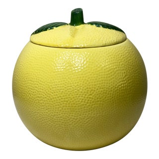 Mid Century Textured Ceramic Lemon Cookie Jar For Sale