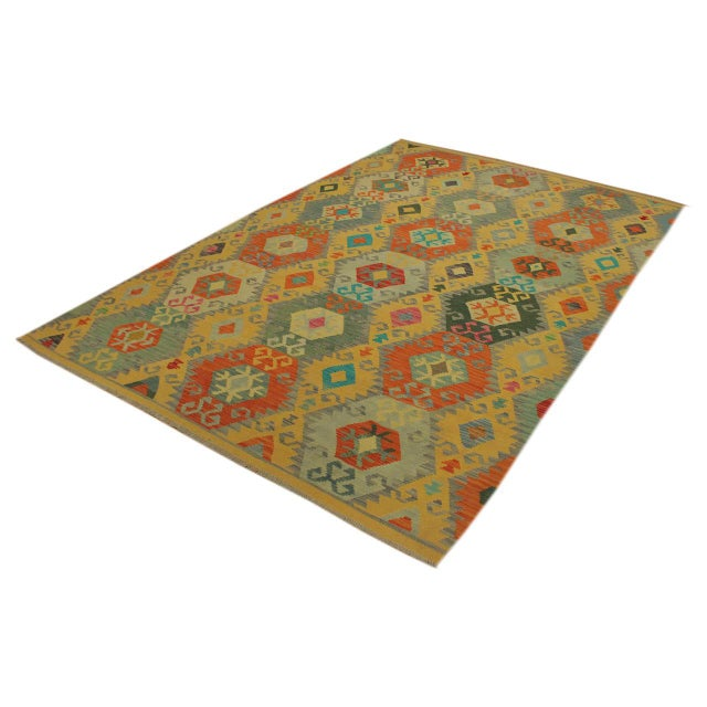 Contemporary Felice Gold/Gray Hand-Woven Kilim Wool Rug -6'7 X 9'10 For Sale - Image 3 of 8
