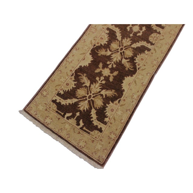 Transitional 1990s Vintage Nobuko Brown/Tan Hand-Knotted Wool Rug - 2′6″ × 9′8″ For Sale - Image 3 of 8