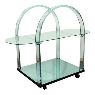 French Modernist Glass & Mirror Serving Cart