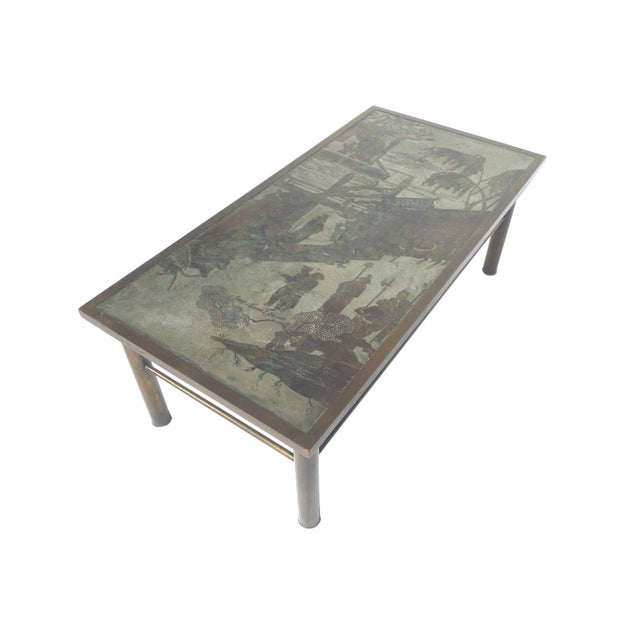 Philip & Kelvin Laverne Etched Bronze Coffee Table For Sale - Image 11 of 11