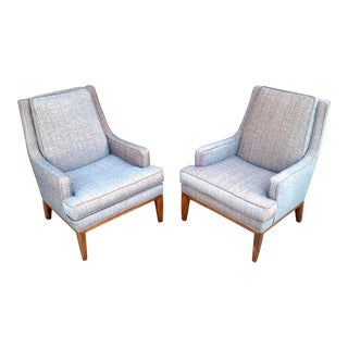 Mid-Century Modern Upholstered Lounge Chairs in the Style of Milo Baughman - a Pair For Sale