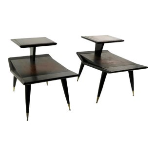 1950s Pr. Mid Century Step End Tables by Gordon's Fine Furniture - a Pair For Sale