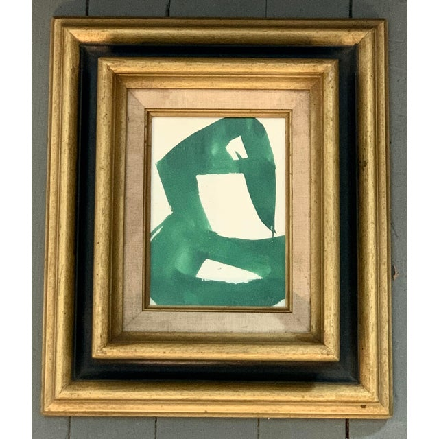 "Abstract Vintage Original Robert Cooke Painting ""Green Duck"", 1970's For Sale - Image 3 of 3"