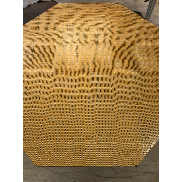Yellow Moroccan Inspired Grass Cloth Wrapped Side Table For Sale - Image 8 of 9