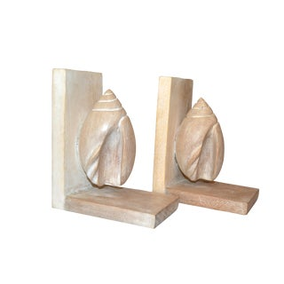 Vintage Nautical Bleached Cerused Oak Seashell Decor Bookends For Sale