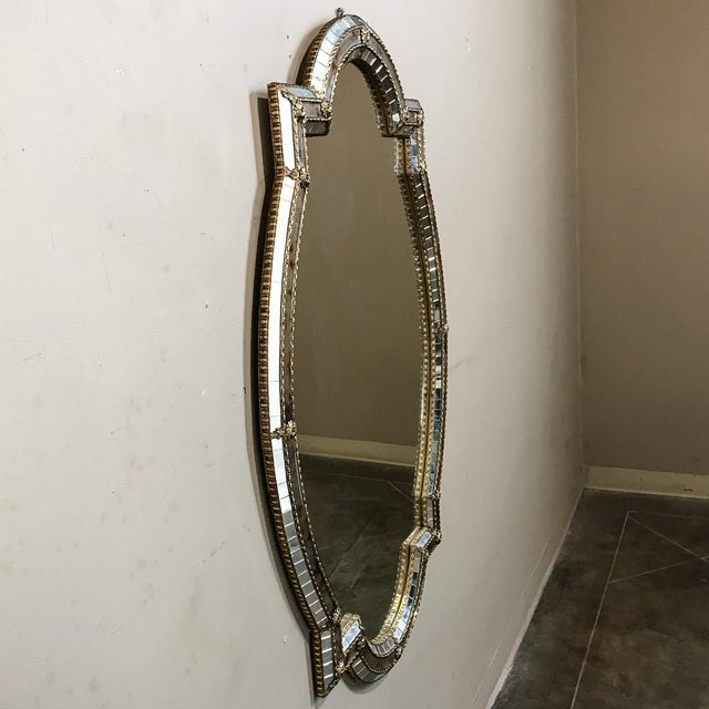 Mid 20th Century Mid-Century Venetian Style Mirror With Gilt Brass Accents For Sale - Image 5 of 12