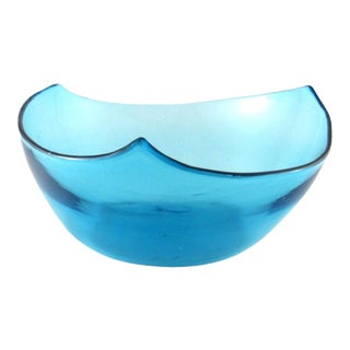 1960s Hand Blown Blue Three-Sided Glass Bowl For Sale