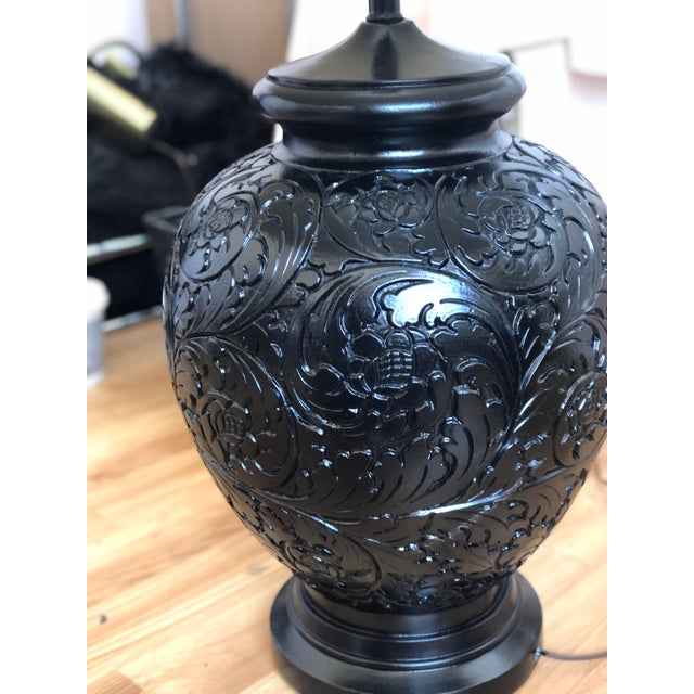 Black Stunning Pair of Gloss Black, Round Table Lamps With Carved Relief Design For Sale - Image 8 of 11