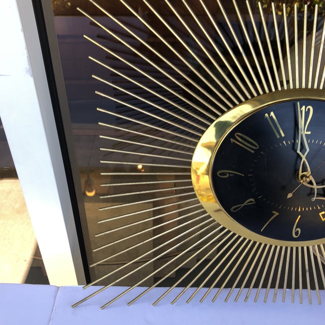 Hollywood Regency 1950s General Electric Sunburst Wall Clock For Sale - Image 3 of 8