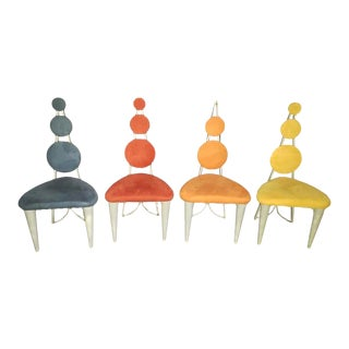Memphis Postmodern Style Dining Chairs- Set of 4 For Sale