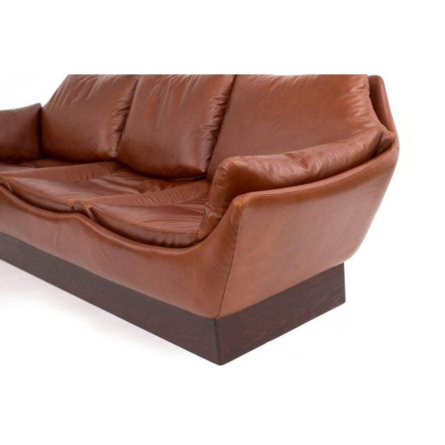 1970s Sculptural Danish Leather & Down Sofa For Sale - Image 5 of 7