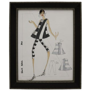 Framed Fashion Watercolor Signed Roberto Robledo For Sale