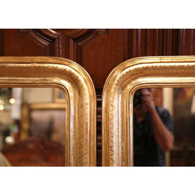 Pair of Midcentury French Louis Philippe Giltwood Mirrors With Engraved X Decor For Sale - Image 4 of 6