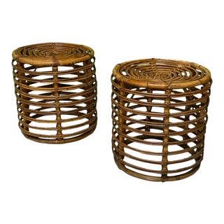 Rattan Drum End Tables or Footstools For Sale