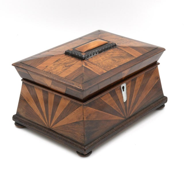 Mid 19th Century Lovely Pagoda Shape Box With Sunburst Marquetry, English, Circa 1850. For Sale - Image 5 of 11
