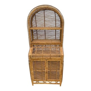 1970s Boho Wicker/Rattan Secretary Desk & Bookcase For Sale