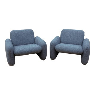 Mid Century Modern Ray Wilkes for Herman Miller Blue Chiclet Lounge Chairs - a Pair For Sale