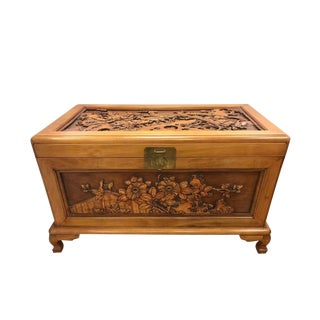 Chinese Carved Wood Trunk Box For Sale