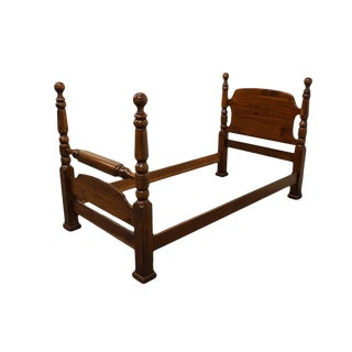 Late 20th Century Pine Four Poster Cannonball Twin Size Bed For Sale