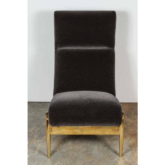 Paul Marra Slipper Chair in Brass with Mohair - Image 7 of 7
