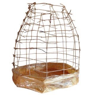 Wire Basket Cage Sculpture by Susan Eisler For Sale