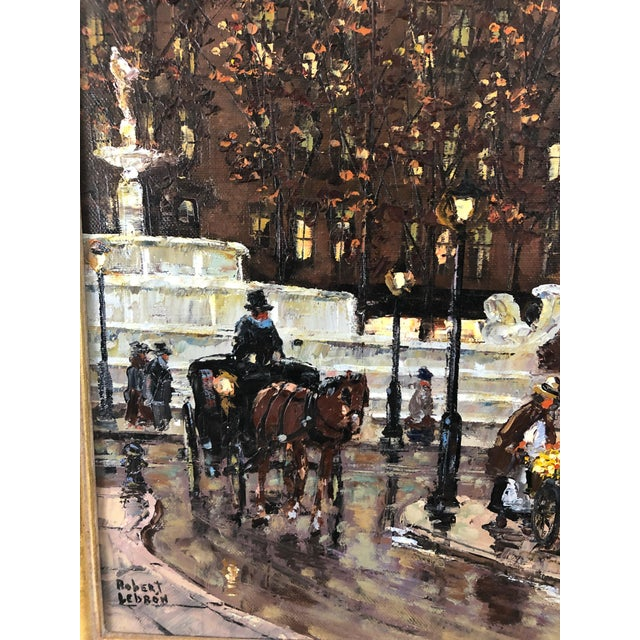 1990s Original Oil Painting of New York City Pulitzer Fountain at the Plaza For Sale - Image 5 of 9