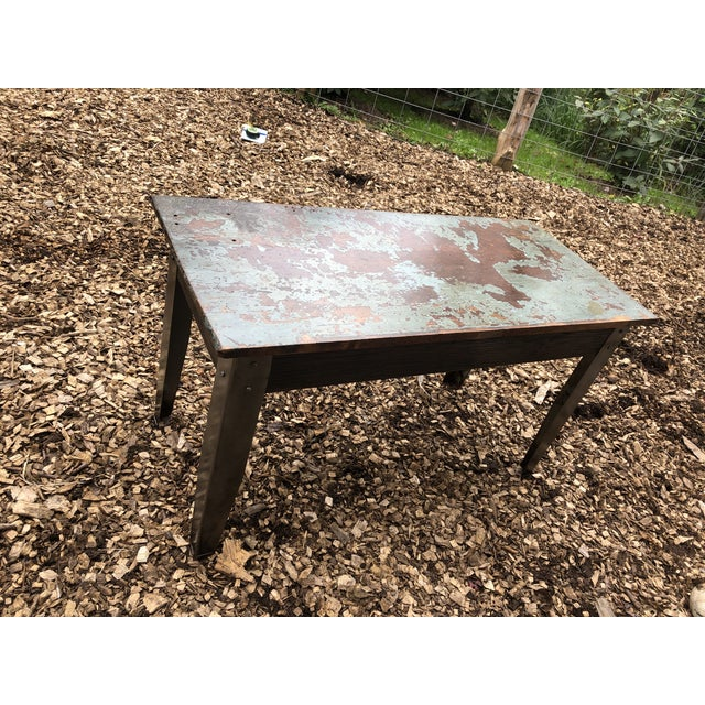 Industrial Industrial Distressed Wood Table With Metal Legs For Sale - Image 3 of 13