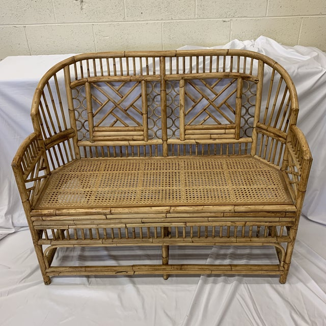 Chinese Chippendale Brighton Style Bamboo Bench For Sale - Image 11 of 12