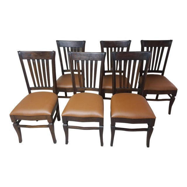Teak Wood Classic Dining Chairs - Set of 6 - Image 1 of 5