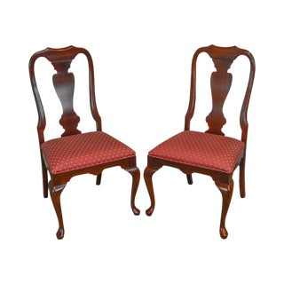 Queen Anne Style Solid Cherry Pair of Side Dining Chairs For Sale