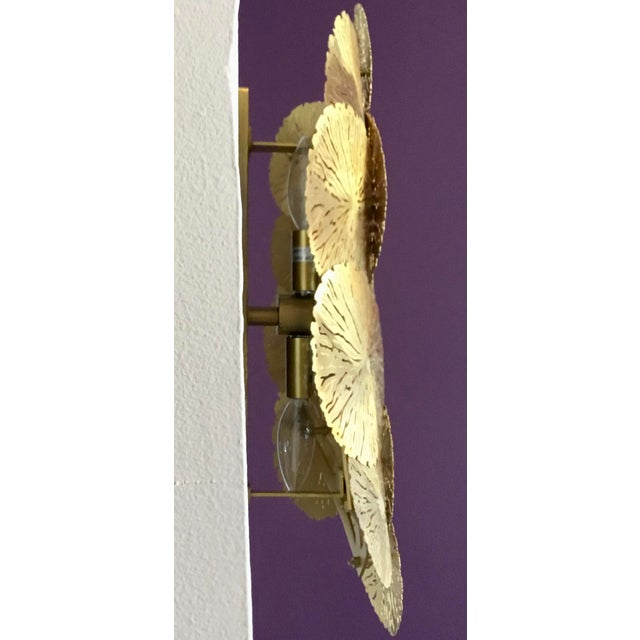 2010s Showroom Studio a Home Modern Brass Lily Pad Sconces Pair - a Pair For Sale - Image 5 of 6