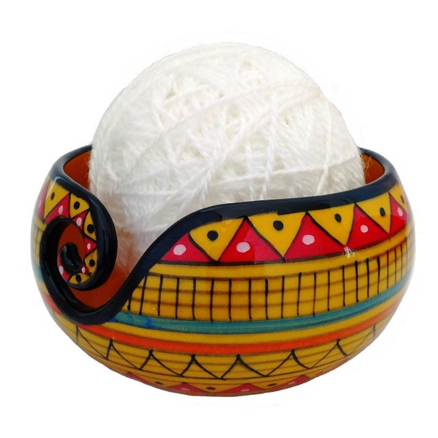 African Handcrafted Yellow Ceramic Knitting Yarn Bowl Holder For Sale - Image 4 of 6