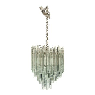 Vintage Venini Chandelier for Camer Glass Clear Triangle Prisms For Sale