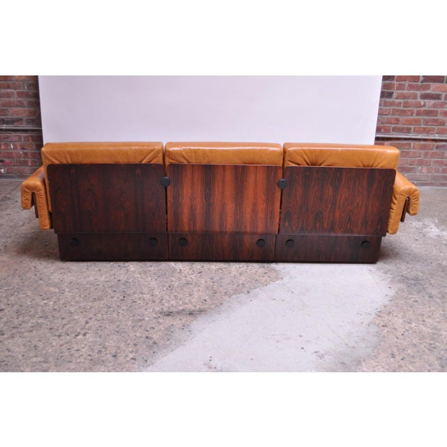 Wood Brazilian Modern Rosewood and Leather Modular Sofa or Settees - 4 Pc. Set For Sale - Image 7 of 13