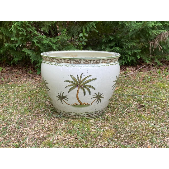 Late 20th Century Monumental Palmy Tree Ceramic Planter Bowl For Sale - Image 5 of 5