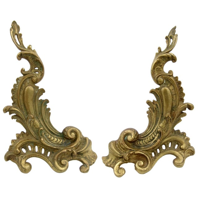 Antique Louis XV Style Pair of Fireplace Chenets or Andirons For Sale - Image 10 of 10