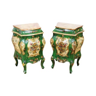 Italian Venetian Style Painted Nightstands - a Pair