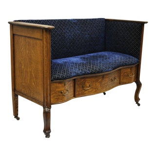 Victorian Golden Tiger Oak Upholstered Entry Bench
