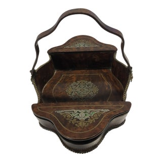 Late 18th Century Antique Burlwood Inlaid Basket For Sale