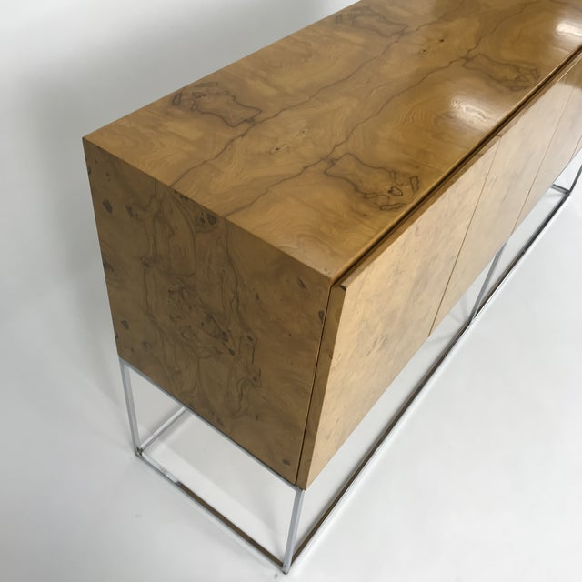 Olive Burl Credenza With Chrome Base Designed by Milo Baughman for Thayer Coggin For Sale - Image 10 of 13