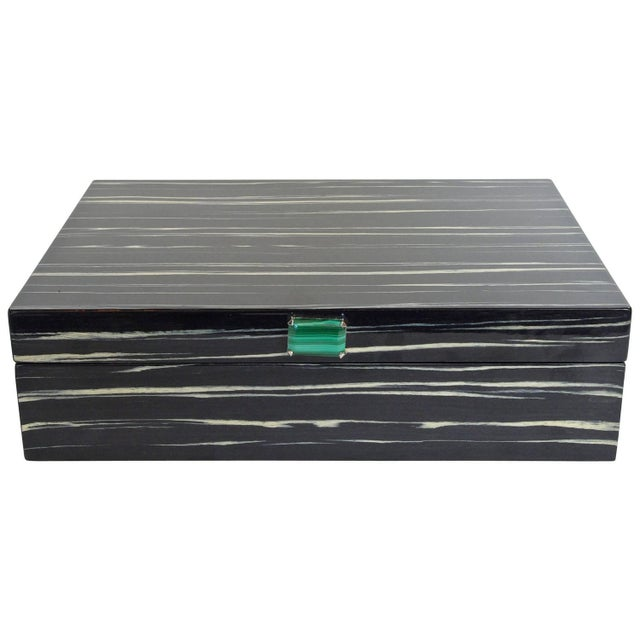 Wood Amenity Box in Black and White Macassar With Malachite Knob by Fabio Ltd For Sale - Image 7 of 7