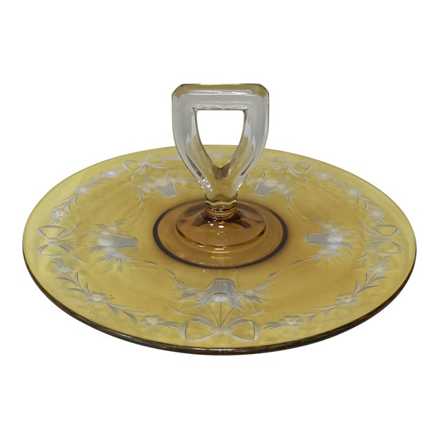 Depression Glass Yellow Flashed Etched Center Handle Sandwich Tray For Sale